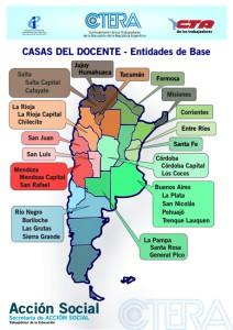 mapa de las casas docentes del pais CTERA 2014